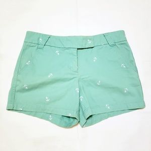 J Crew Factory Turquoise Shorts with Anchors